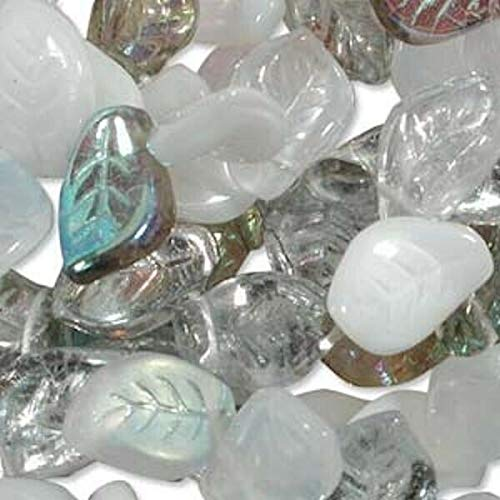 (50 Winter Mix Czech Pressed Glass Leaf Beads / 14X9X4Mm Leaves)