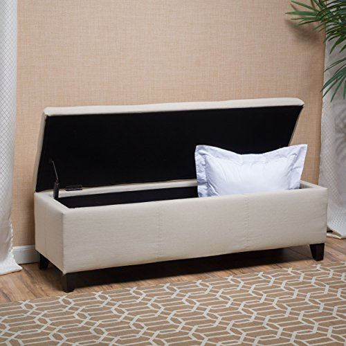Skyler Beige Fabric Storage Ottoman Bench - Padded Storage Bench