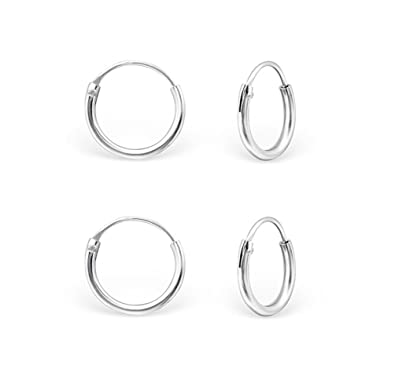 DTPSilver - 925 Sterling Silver Tiny Hoops Earrings - Set of 3 Pairs - Thickness 1.2 mm - Diameter 8 mm hEr2qOp