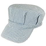 Blue Striped Child Engineer Hat, Red & White