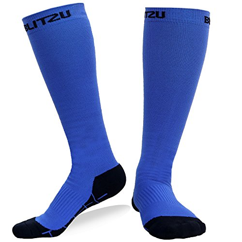 Blitzu Compression Socks 20-30mmHg for Men & Women BEST Recovery Performance Stockings for Running, Medical, Athletic, Edema, Diabetic, Varicose Veins, Travel, Pregnancy, Relief Shin Splint L - Ted Rx