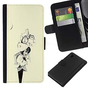 iBinBang / Flip Funda de Cuero Case Cover - Resumen máscara Vintage Amarillo Retro - Sony Xperia Z1 L39