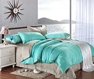 Amazon Com New Arrival Turquoise Grey Solid Color Duvet