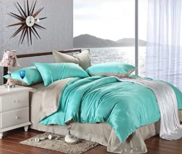 new arrival turquoise grey solid color duvet cover