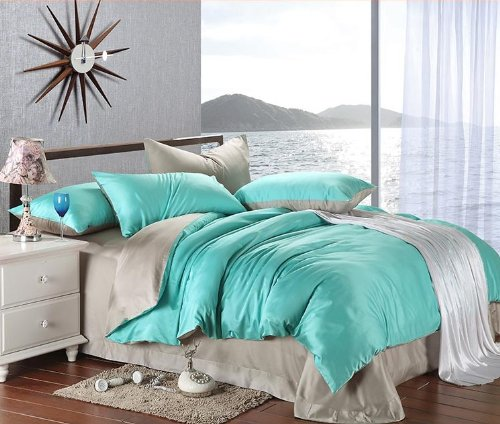 Amazon com  New arrival Turquoise Grey Solid Color Duvet Cover Bedding  Queen King Bedding Set Smooth Fashion Tencel Twill Bed in A Bag  Queen  Size   Home. Amazon com  New arrival Turquoise Grey Solid Color Duvet Cover