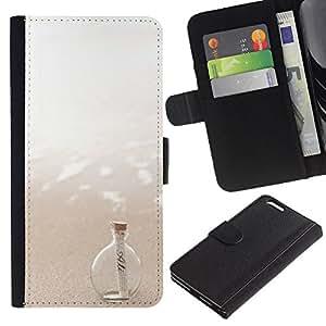 iKiki Tech / Cartera Funda Carcasa - Message In A Bottle Sea Sun Summer - Apple iPhone 6 Plus 5.5