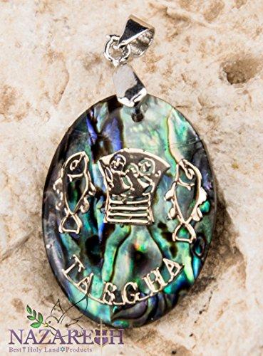 Jesus Fish Tabgha Pearl Shell Pendant Abalone Shell Handmade Amulet Holy Land (Green Fish Jesus)