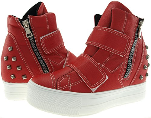 C2 Studed Red Maxstar Velcro High up Shoes Sneakers Tall Top OPdEx7