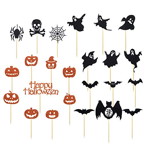 Halloween Theme 24 Pieces Glitter Cupcake Toppers Witch Hat Bats Spider Pumpkin Ghost Mini Cake Decorations for Halloween Party Supplies -