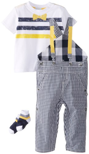 Petit Lem Baby Boys' Mr. Hipster Overall Set, Navy Plaid, 24 Months