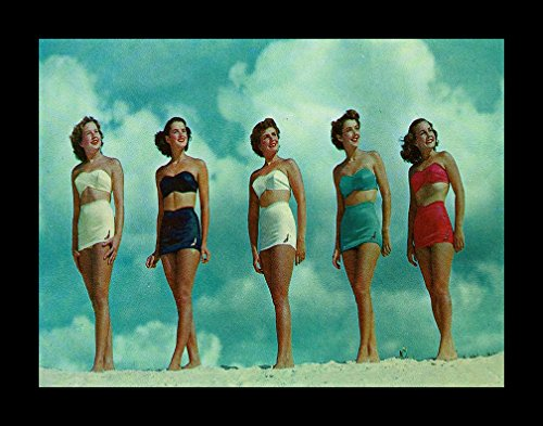 (FRAMED Bathing Beauties 16x12 Art Print Poster Vintage Swimsuit Models Beach Coastal Swim)