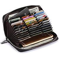 AINIMOER Women's Big 36 Slots Leather RFID Blocking Large Capacity clutch organizer Purse Long Zip Passport Checkbook Wallet
