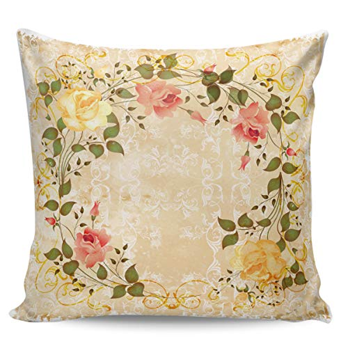Queen Area Square Pillowcases for Mens Women Girls Boys Luxury Soft Throw Cushion Cover Pillow Sham for Living Room Sofa Bedroom Couch & Bed Rose Garland 18