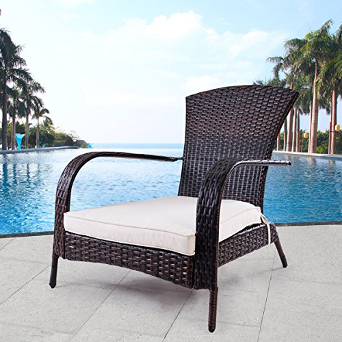 TANGKULA Wicker Adirondack Chair Outdoor Rattan Patio Porch Deck All Weather Furniture with Beige Seat Cushion Wicker Chair Lounger Chaise … (small with beige (All Weather Rattan Furniture)
