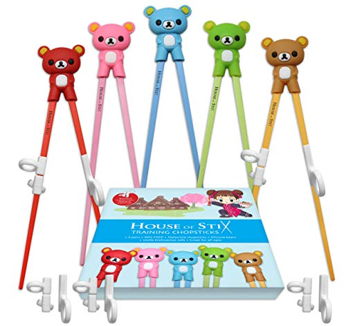Training chopsticks for kids adults and beginners - 5 Pairs chopstick set with attachable learning chopstick helper - right or left handed ()