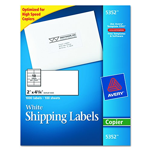 "Avery Address Labels for Copiers, 2"" x 4-1/4"", Box of 1,000 (5352)"