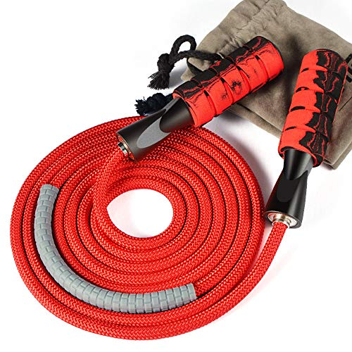 Denvosi Professional Jump Rope Workout, Overstriking Weighted Ball Bearing Weighted Cotton Rope Adjustable Length for…
