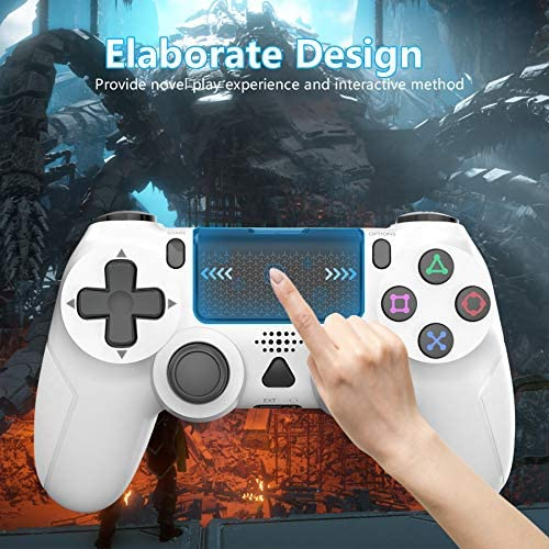 Wireless Gaming Controller for PS4, YCCSKY Wireless Gamepad Joypad Built-in Gyro/Speaker/Vibration Remote Joystick with Share Button and Ergonomic Design forPS4/Slim/Pro (White)