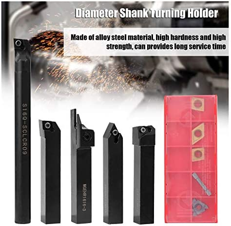 Boring Bar Holder+Carbide Insert 5Pcs 16MM Diameter Shank Turning Holder Tool Set with Blade and T15 Wrench for Bench CNC Lathe SDNCN1616H11