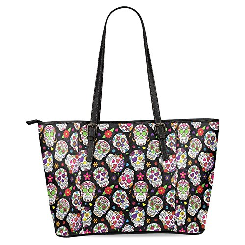 InterestPrint Day Of The Dead Sugar Skull Women's Leather Tote Shoulder Bags Handbags