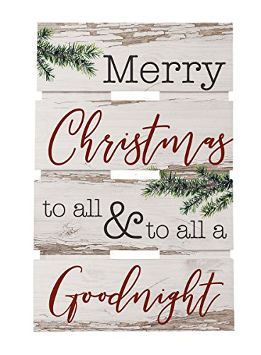 P. GRAHAM DUNN Merry Christmas All Goodnight Whitewash 10 x 15.5 Wood Skid Pallet Wall Plaque Sign