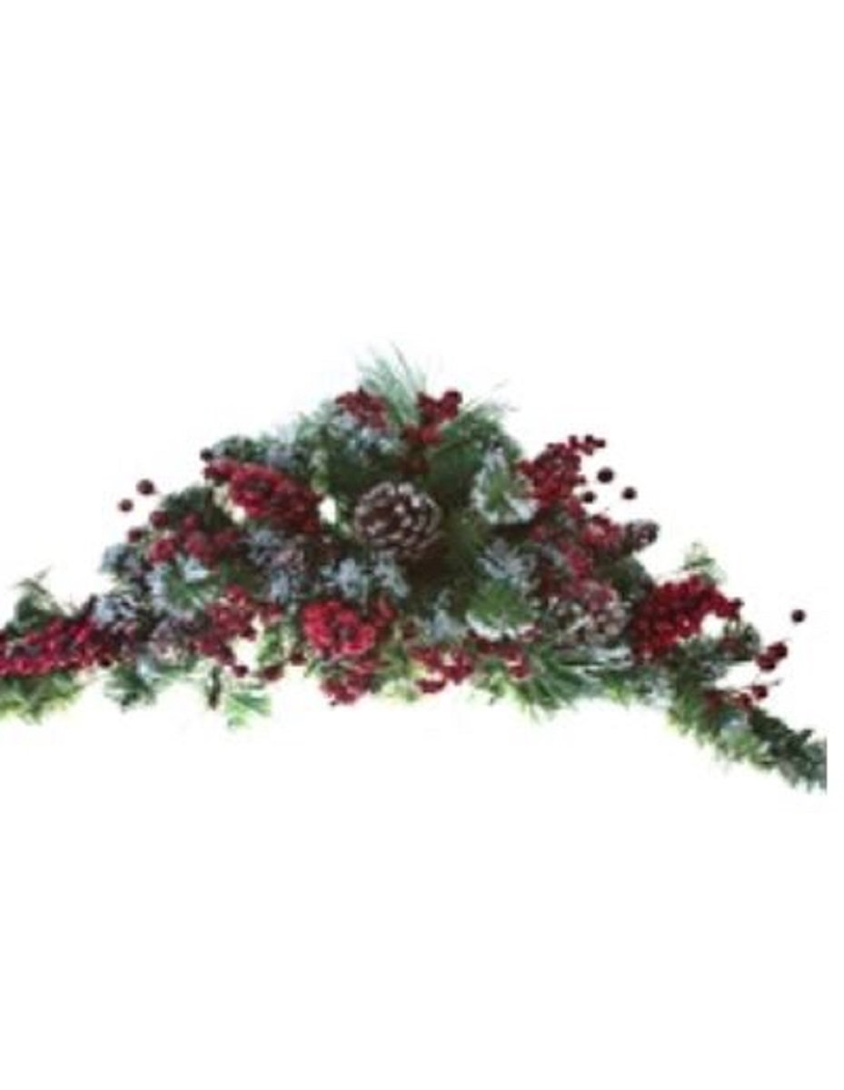 Christmas Snowy Mix of Pine, Berries, and Pinecone BUYERS CHOICE of WREATH, GARLAND, SWAG, Table CENTERPIECE, or TEARDROP (28.5'' swag)