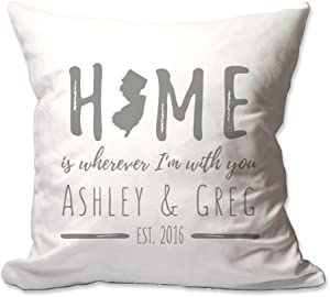 Pattern Pop Personalized New Jersey Home is Wherever I'm with You Throw Pillow Cover - 17 X 17 Throw Pillow Cover (NO Insert) - Decorative Throw Pillow Cover - Soft Polyester