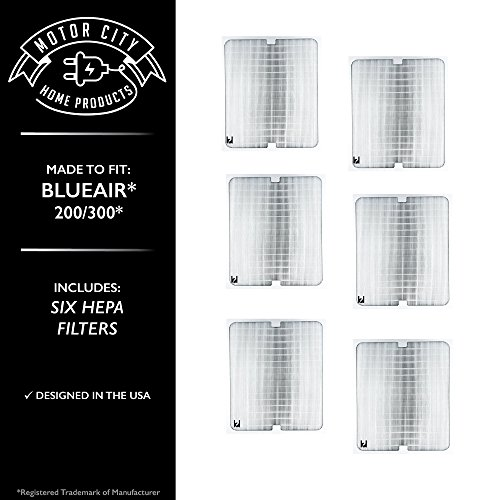 Blueair 200 300 Series Compatible Air Purifier Filter; Motor City Home Products Brand Replacement (6)