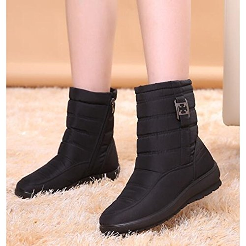 Boots ZHZNVX Boots Heel for fabric Black Boots Shoes Blue Flat Brown Green HSXZ Casual Round Calf Blue Toe Women's Snow Mid Fall Red Polyamide Winter 8wP8zqr