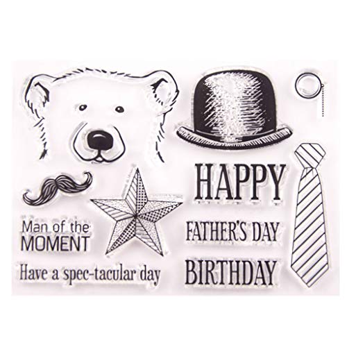 Hukai Happy Father's Day Bear Silicone Clear Seal Stamp DIY Scrapbooking Embossing Photo Album Decorative Paper Card Craft Art Handmade Gift,Good Gift for Your Kids to Cultivate Their Hands-on Ability -