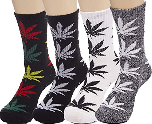 lucky ben 4pair-pack Marijuana Weed Leaf Printed Cotton High Socks, Mix Colors, fit for shoe size 7-11 (B match) (Best Gifts For A Pothead)