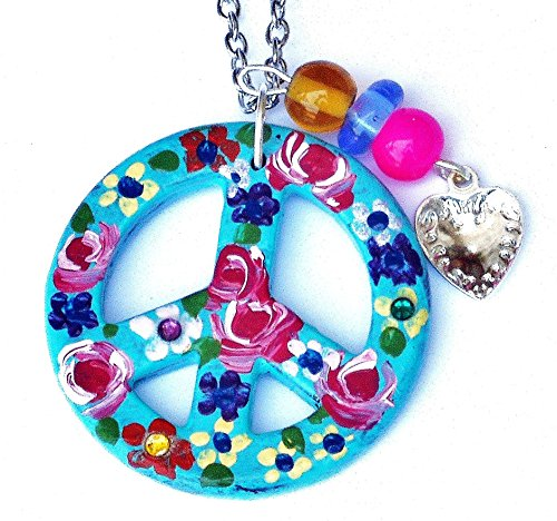 Hippie Peace Sign Necklace with Hand Painted Roses Flowers Dangling Heart Charm Swarovksi Crystal (Painted Flower Necklace)