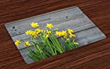 Ambesonne Yellow Flower Place Mats Set of 4, Bouquet of Daffodils on Wood Planks Gardening Rustic Country Life Theme, Washable Fabric Placemats for Dining Room Kitchen Table Decor, Yellow Grey