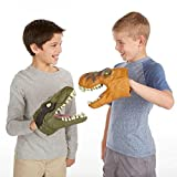 O-Toys 2pcs Dinosaur Toys for Kids Costume Play Sets Hand Puppets Soft Foam Tyrannosaurs Rex Dinosaur Playset (Brown and Green)