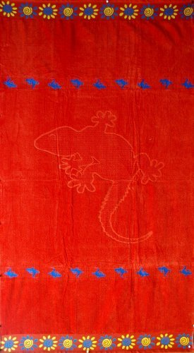 Egyptian Bedding Egyptian Cotton Jacquard Oversized Beach Towel, Red Lizard