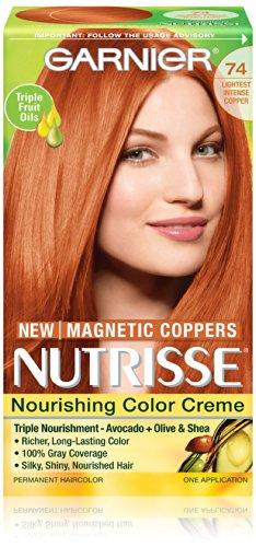 Garnier Nutrisse Nourrissant Cheveux couleur crème, le plus léger de 74 Cuivre Intense
