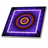 3dRose ct_24846_2 Mandala 12 Blue Red Gold Glowing Energy Power Meditation India Orient Peace Harmony Chakra Newage-Ceramic Tile, 6-Inch