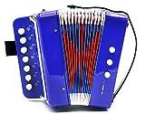 7 Keys 2 Bass Children's Toy Button Accordion Musical Instrument - Blue