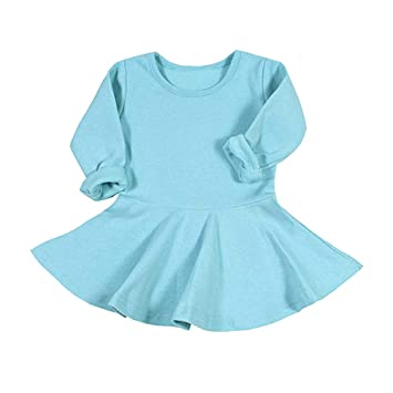 2463bbeca8f1 Amazon.com  Christmas Dress for Baby Girls Toddler Kids Solid Long ...