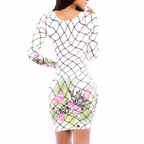 Blanc Fleurs Manches Floraux Imprimes Moulante Longues QIYUN Blanc Z Robe a Lumineux Femmes Combinaisons wEfHWq