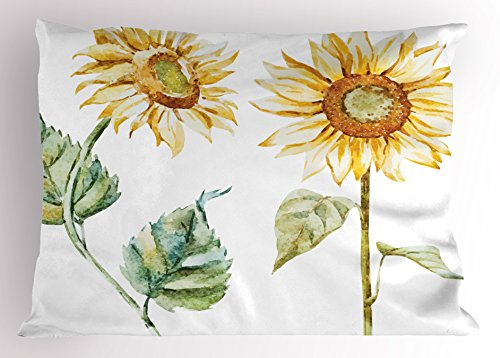 Ambesonne Watercolor Pillow Sham, Alluring Sunflowers Summer Inspired Design Agriculture, Decorative Standard Queen Size Printed Pillowcase, 30