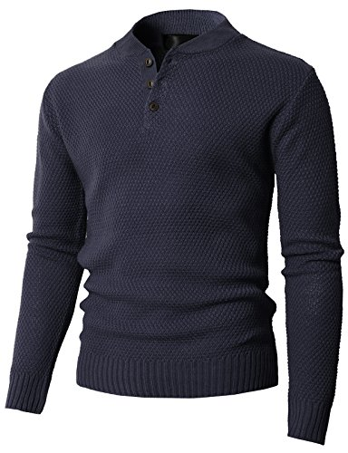 H2H Mens Slim Fit Cable Knit Long Sleeve Henley-Neck Pullover Sweater Navy US L/Asia XL (KMOSWL0202) ()