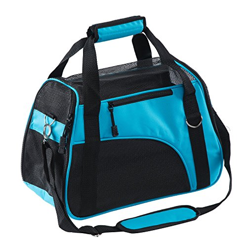 """Pettom Pet Carrier for Dogs & Cats Comfort Airline Approved Travel Tote Soft Sided Bag (S 16"""" L×8"""" W×11.5"""" H, Lake Blue)"""