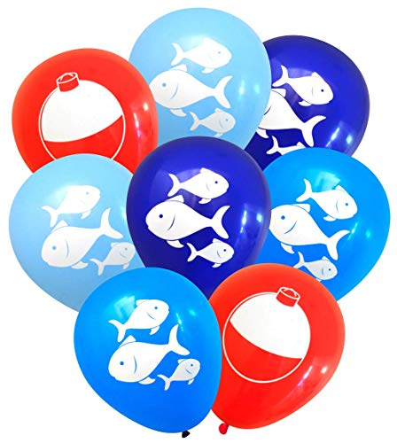 (Nerdy Words Fish and Bobber Balloons (16 pcs) Fishing Party Decorations (Red, Navy, Dark Blue, Light)
