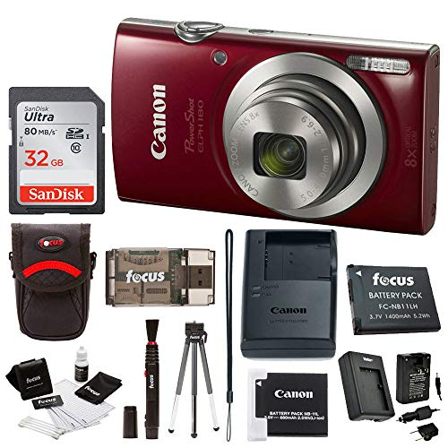 Canon PowerShot ELPH 180 20 MP Digital Camera (Red) + 32GB Card + Battery and Charger + Accessory Bundle (Best Camera For 200 Dollars)