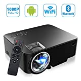 [Build-in Android OS] MAXESLA Smart Android Mini Projector 1080P Wifi Home Cinema Theater Full HD 1500 Lumens Movie Entertainment Support TV, DVD Player, Laptops, PC, Tablets, USB Drive, Headphone