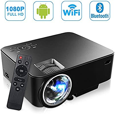 SEGURO Android Proyector de WiFi 1080P Full HD Smart ...