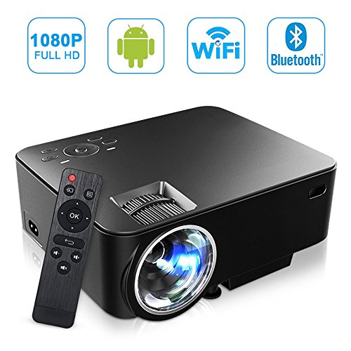[Build-in Android OS] MAXESLA Smart Android Mini Projector 1080P Wifi Home Cinema Theater Full HD 1500 Lumens Movie Entertainment Support TV, DVD Player, Laptops, PC, Tablets, USB Drive, Headphone by MAXESLA