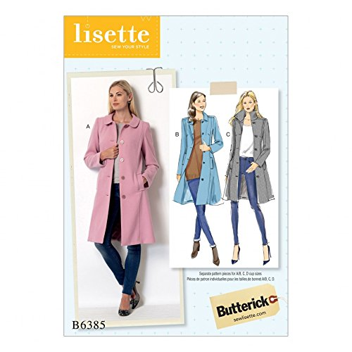 Butterick Ladies Sewing Pattern 6385 Funnel Neck, Peter Pan or Pointed Collar Coats Lisette