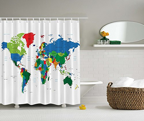 HOMEE World Map Fabric Stall Shower Curtain Water Repellent PEVA Polyester Educational Geographical Mildew Resitant - 70 x 70 -inch (180 x 180 cm) with (Abc Family 13 Days Of Halloween)